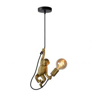 Simpanssi riippuvalaisin valon kanssa.