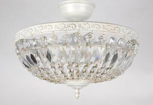 Arvo kristalliplafondi 40cm antiikkivalkoinen