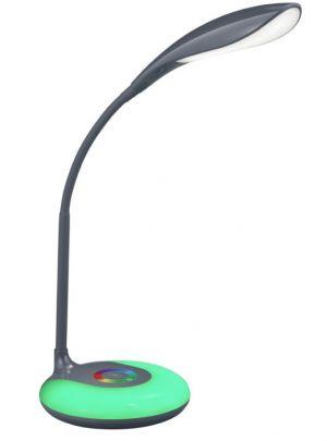 Krait pöytävalaisin antrasiitti, jalustassa vihreä valo päällä.