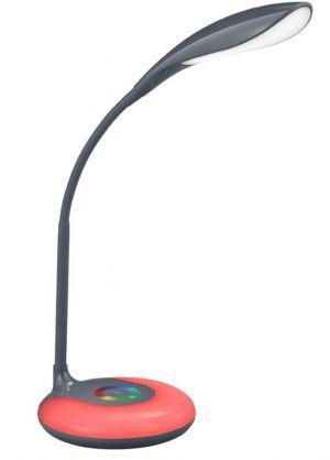 Krait pöytävalaisin antrasiitti, jalustassa punainen valo päällä.
