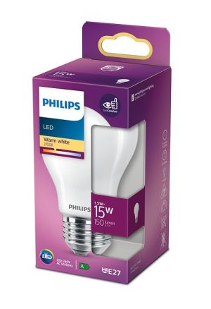 Led-lamppu E27-kannalla, vastaa 15W, mattapinta, pakettikuva.