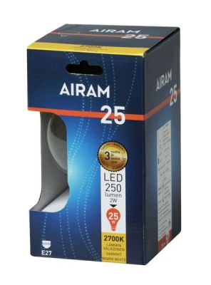 Led-lamppu E27 vastaa 25W, kirkas pallokupu.