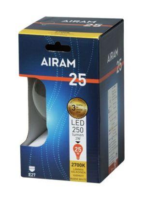 Led-lampun E27 vastaa 25W, kirkas pallokupu, pakkaus.