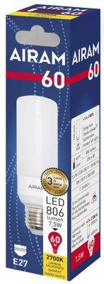 Putkilo tubular led-lamppu E27 vastaa 60W lämmin valo.