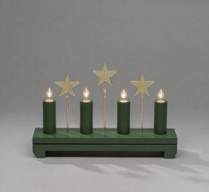 Vihreä kynttelikkö tähtikoristeilla